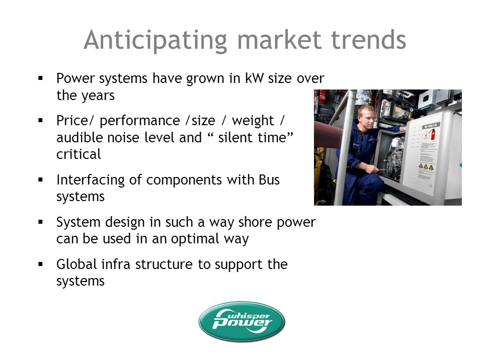 Anticipating market trends Power systems have grown in kW size over the years Price/ performance /size / weight / audible noise level and silent time