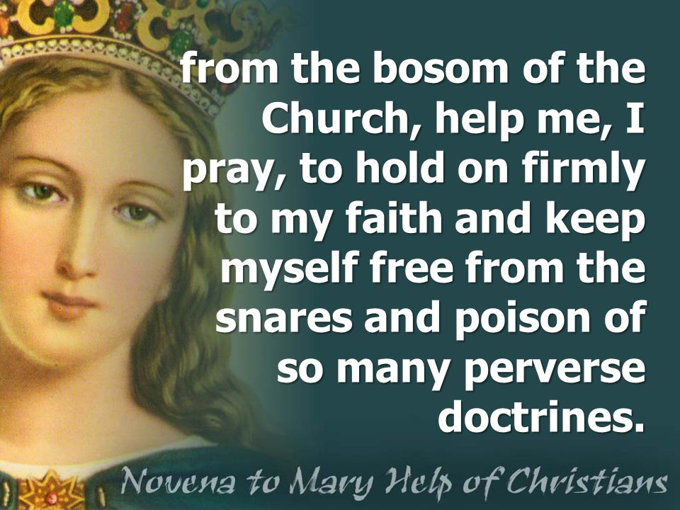 from the bosom of the Church, help me, I pray, to hold on firmly to my faith and keep myself free from the snares and poison of so many perverse doctr