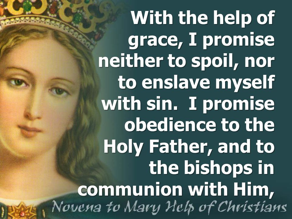With the help of grace, I promise neither to spoil, nor to enslave myself with sin. I promise obedience to the Holy Father, and to the bishops in comm