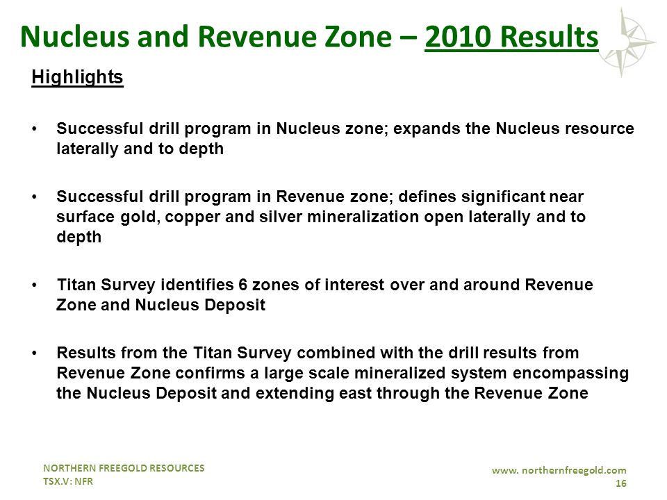 NORTHERN FREEGOLD RESOURCES TSX.V: NFR www. northernfreegold.com 16 Nucleus and Revenue Zone – 2010 Results Highlights Successful drill program in Nuc