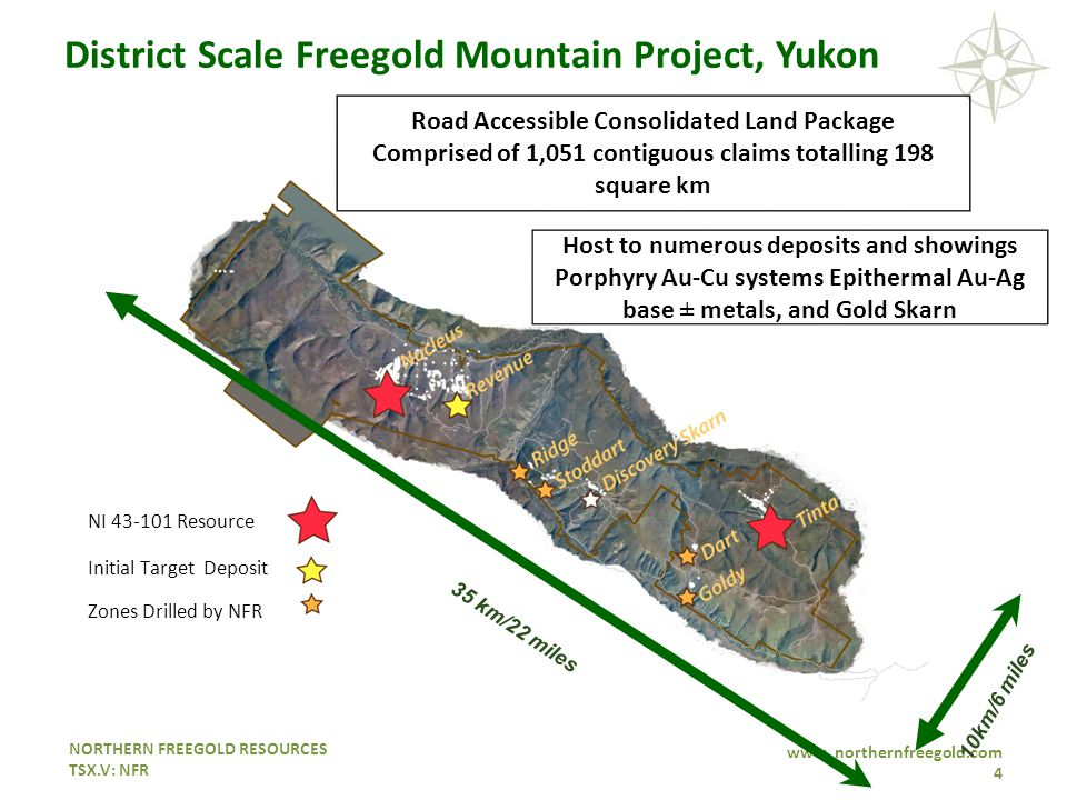 NORTHERN FREEGOLD RESOURCES TSX.V: NFR www. northernfreegold.com 4 Initial Target Deposit NI 43-101 Resource Zones Drilled by NFR Host to numerous dep