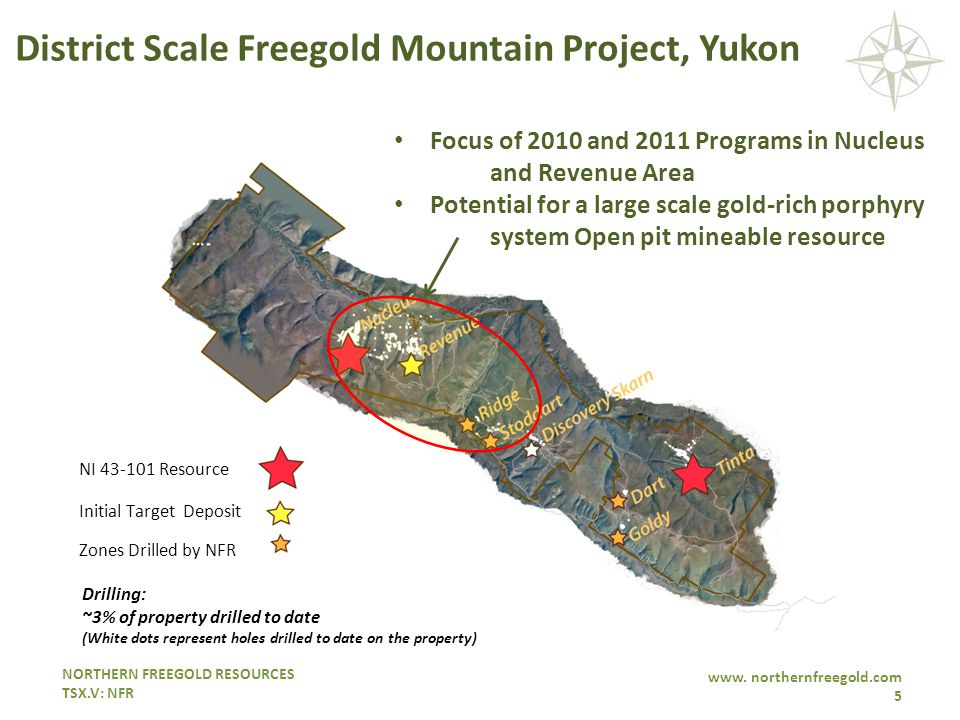 NORTHERN FREEGOLD RESOURCES TSX.V: NFR www. northernfreegold.com 5 Focus of 2010 and 2011 Programs in Nucleus and Revenue Area Potential for a large s