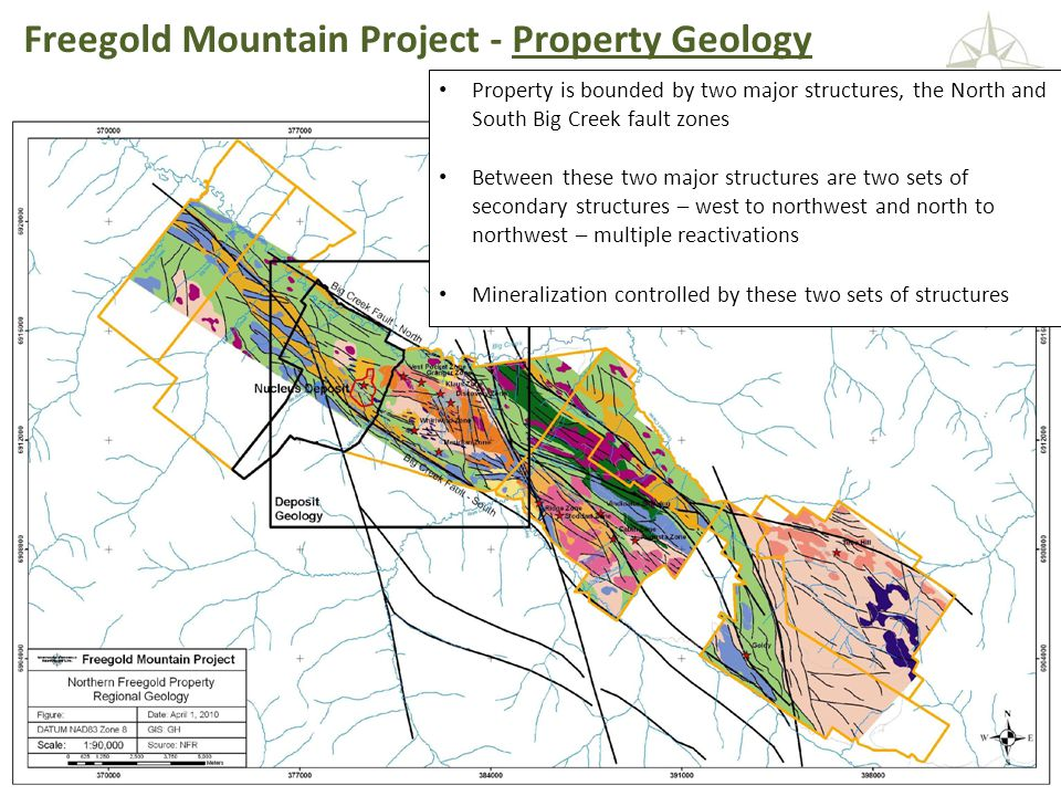 NORTHERN FREEGOLD RESOURCES TSX.V: NFR www. northernfreegold.com 7 Freegold Mountain Project - Property Geology Property is bounded by two major struc