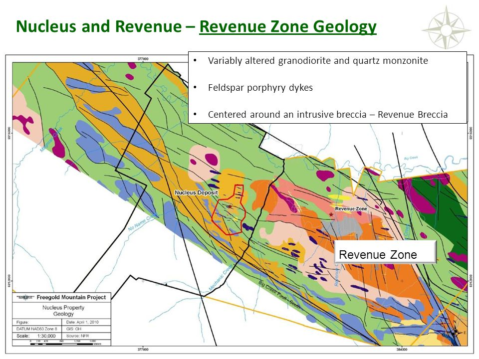 NORTHERN FREEGOLD RESOURCES TSX.V: NFR www. northernfreegold.com 9 Nucleus and Revenue – Revenue Zone Geology Variably altered granodiorite and quartz