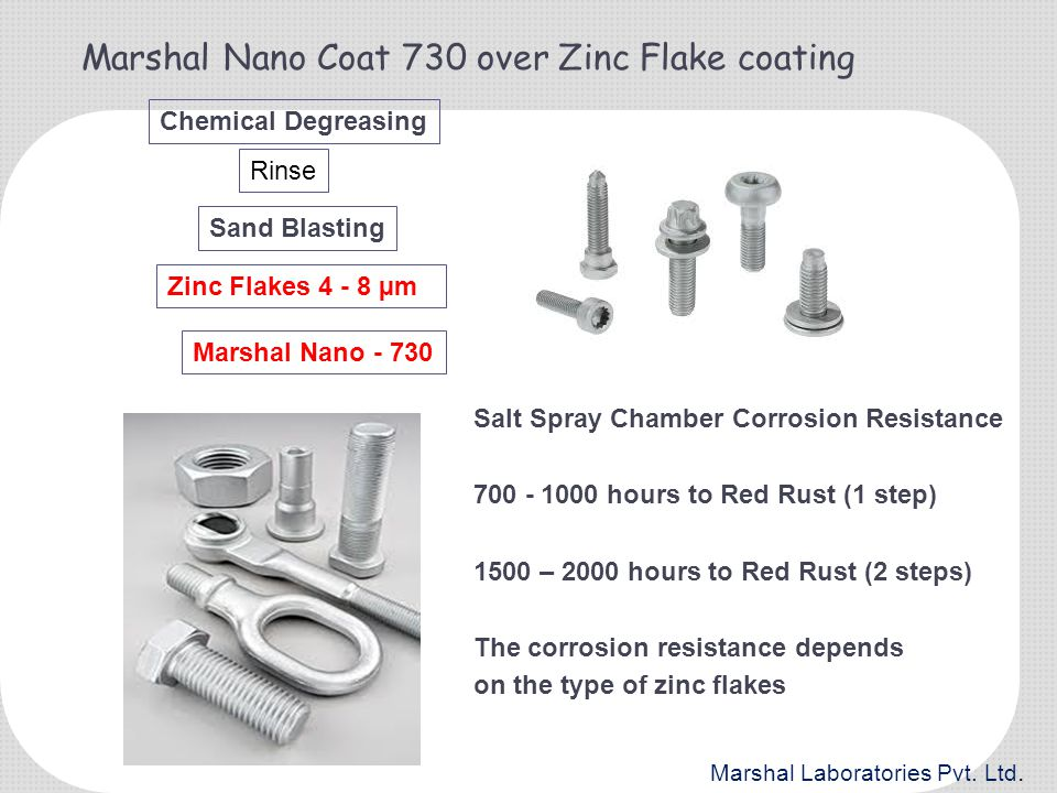Marshal Nano Coat 730 over Zinc Flake coating Chemical Degreasing Sand Blasting Rinse Zinc Flakes 4 - 8 µm Marshal Nano - 730 Salt Spray Chamber Corro