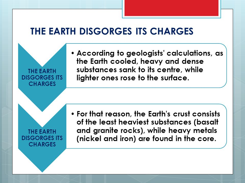 THE EARTH DISGORGES ITS CHARGES According to geologists calculations, as the Earth cooled, heavy and dense substances sank to its centre, while lighter ones rose to the surface.