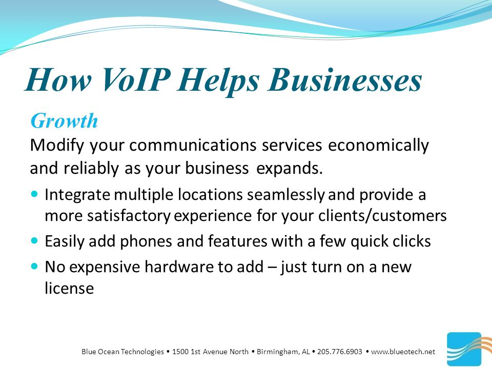 How VoIP Helps Businesses Growth Modify your communications services economically and reliably as your business expands.