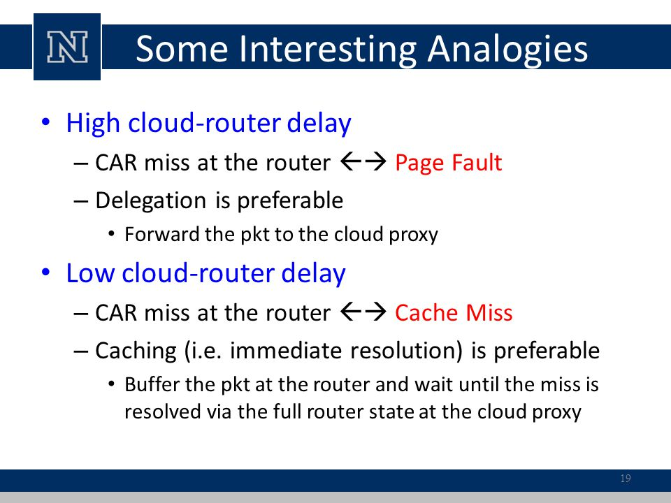 Some Interesting Analogies High cloud-router delay – CAR miss at the router Page Fault – Delegation is preferable Forward the pkt to the cloud proxy L