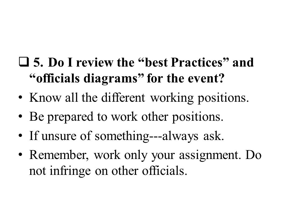 5.Do I review the best Practices and officials diagrams for the event.