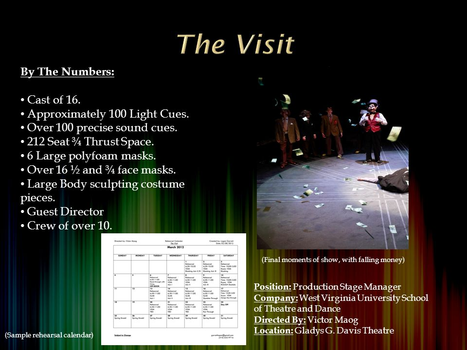 By The Numbers: Cast of 16. Approximately 100 Light Cues.