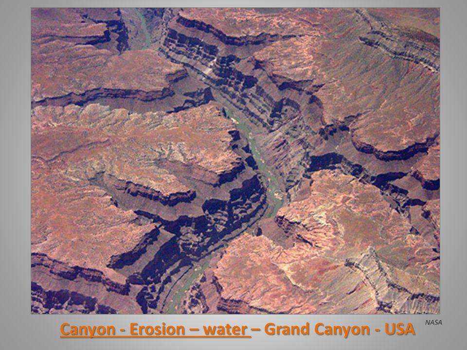 Canyon - Erosion – water – Grand Canyon - USA NASA