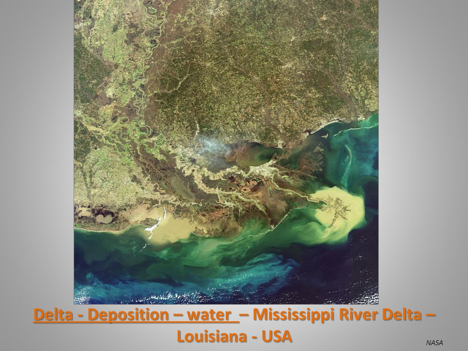 Delta - Deposition – water – Mississippi River Delta – Louisiana - USA NASA