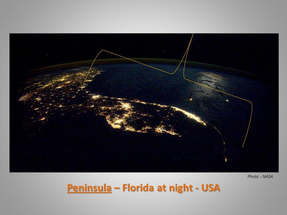 Peninsula – Florida at night - USA Photo - NASA