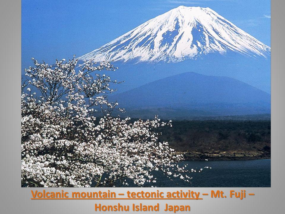 Volcanic mountain – tectonic activity – Mt. Fuji – Honshu Island Japan