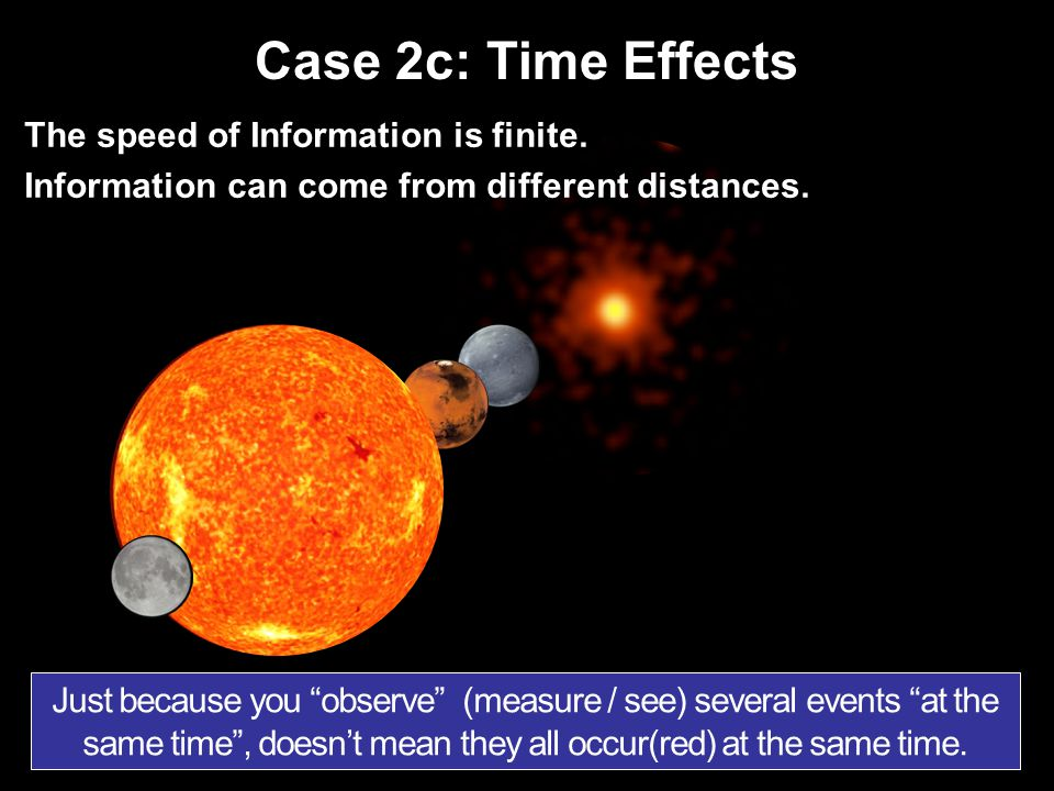 Case 2c: Time Effects The speed of Information is finite. Information can come from different distances. Just because you observe (measure / see) seve