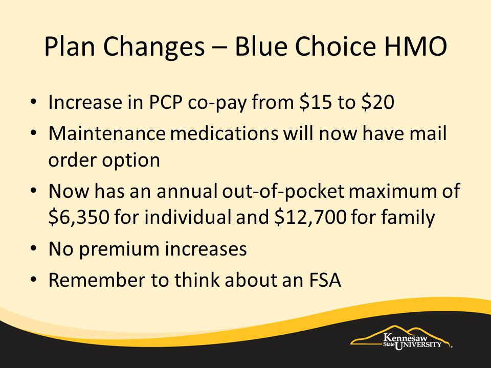 Plan Changes – Blue Choice HMO Increase in PCP co-pay from $15 to $20 Maintenance medications will now have mail order option Now has an annual out-of-pocket maximum of $6,350 for individual and $12,700 for family No premium increases Remember to think about an FSA