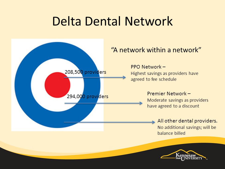 Delta Dental Network PPO Network – Highest savings as providers have agreed to fee schedule Premier Network – Moderate savings as providers have agreed to a discount All other dental providers.