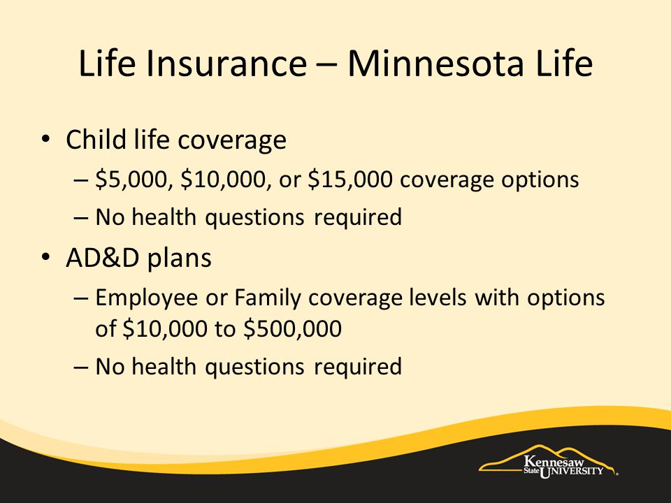 Life Insurance – Minnesota Life Child life coverage – $5,000, $10,000, or $15,000 coverage options – No health questions required AD&D plans – Employee or Family coverage levels with options of $10,000 to $500,000 – No health questions required