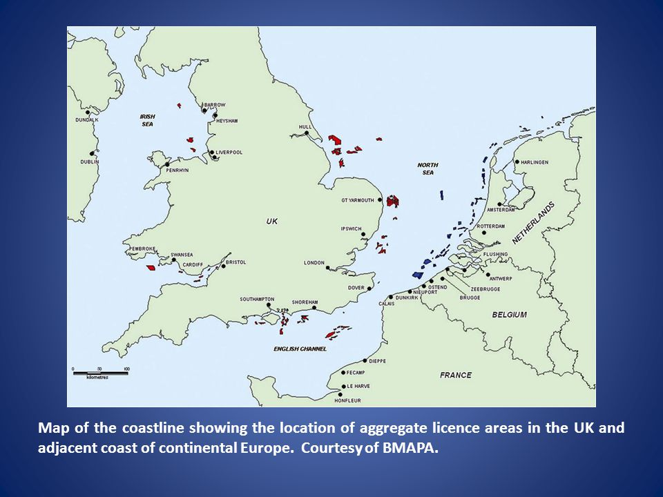 Map of the coastline showing the location of aggregate licence areas in the UK and adjacent coast of continental Europe. Courtesy of BMAPA.