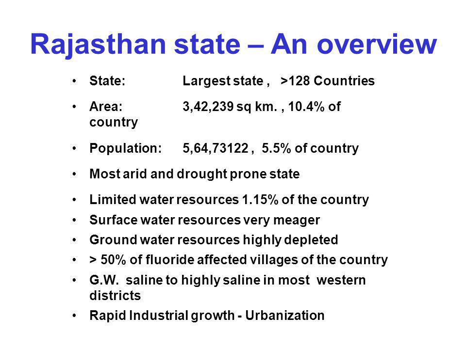 Rajasthan state – An overview State: Largest state, >128 Countries Area: 3,42,239 sq km., 10.4% of country Population: 5,64,73122, 5.5% of country Mos