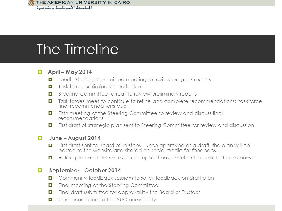 The Timeline April – May 2014 Fourth Steering Committee meeting to review progress reports Task force preliminary reports due Steering Committee retre