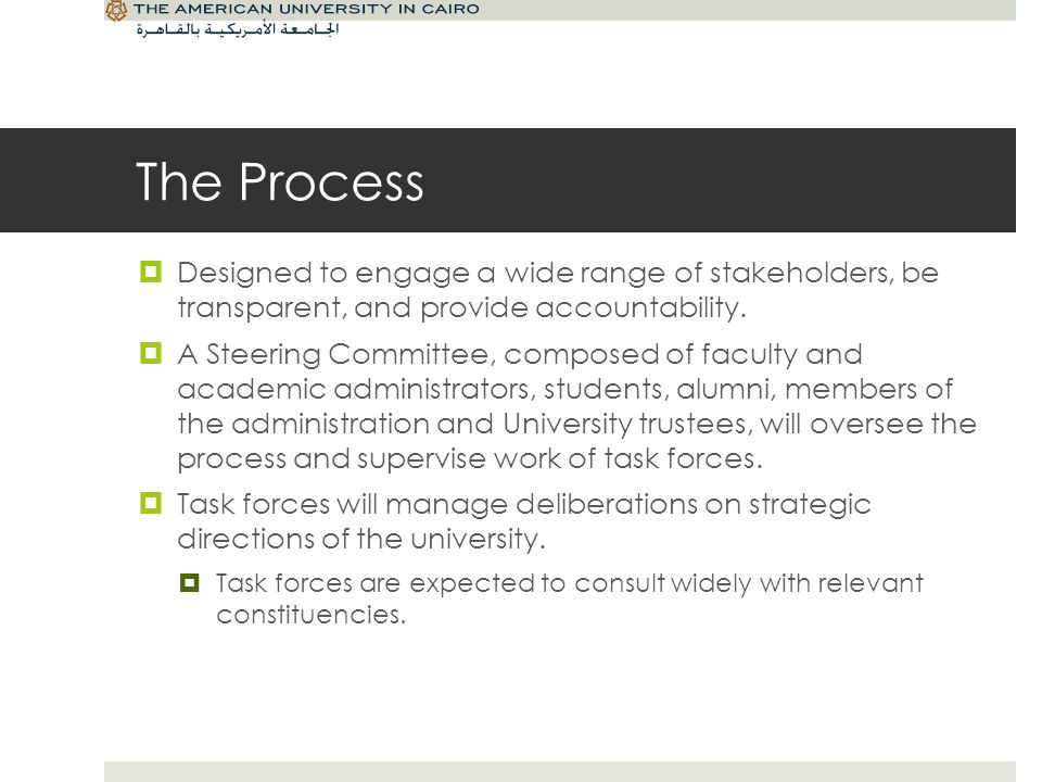 The Process Designed to engage a wide range of stakeholders, be transparent, and provide accountability.