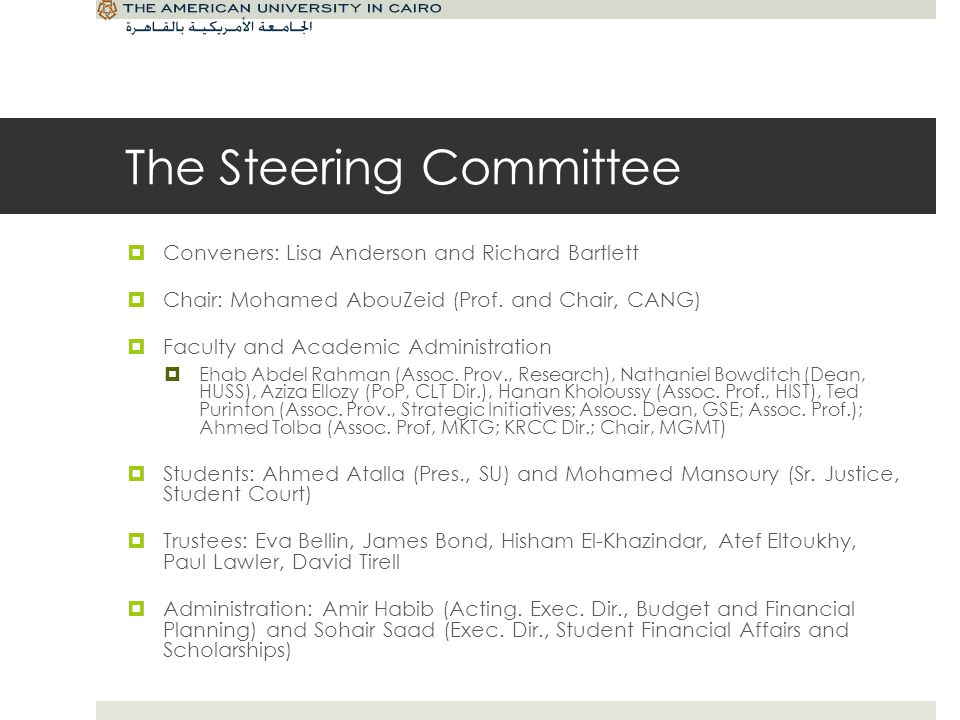 The Task Forces From the Classroom to the Community – Aziza Ellozy To address questions related to teaching and learning Living Together, Learning Together – Nate Bowditch To look at campus life, particularly in New Cairo, and utilization of our physical facilities Discovery, Development, and Dissemination – Ehab Abdel Rahman To examine the impact of research on reputation Recruiting, Rewarding, and Retaining Faculty – Ahmed Tolba To examine the mix of faculty that best suits the mission of AUC in the 21 st century Constituents, Clients, Communities: Expanding Impact in Egypt, the Region, and the World – Ted Purinton To examine enrollment and outreach Ensuring Effectiveness – Mohamed AbouZeid To focus on operational effectiveness, implementation and assessment of planning efforts