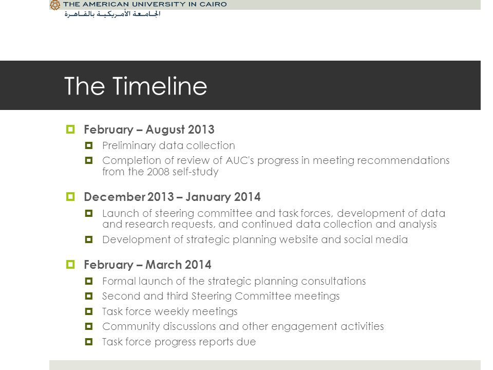 The Timeline February – August 2013 Preliminary data collection Completion of review of AUC s progress in meeting recommendations from the 2008 self-study December 2013 – January 2014 Launch of steering committee and task forces, development of data and research requests, and continued data collection and analysis Development of strategic planning website and social media February – March 2014 Formal launch of the strategic planning consultations Second and third Steering Committee meetings Task force weekly meetings Community discussions and other engagement activities Task force progress reports due