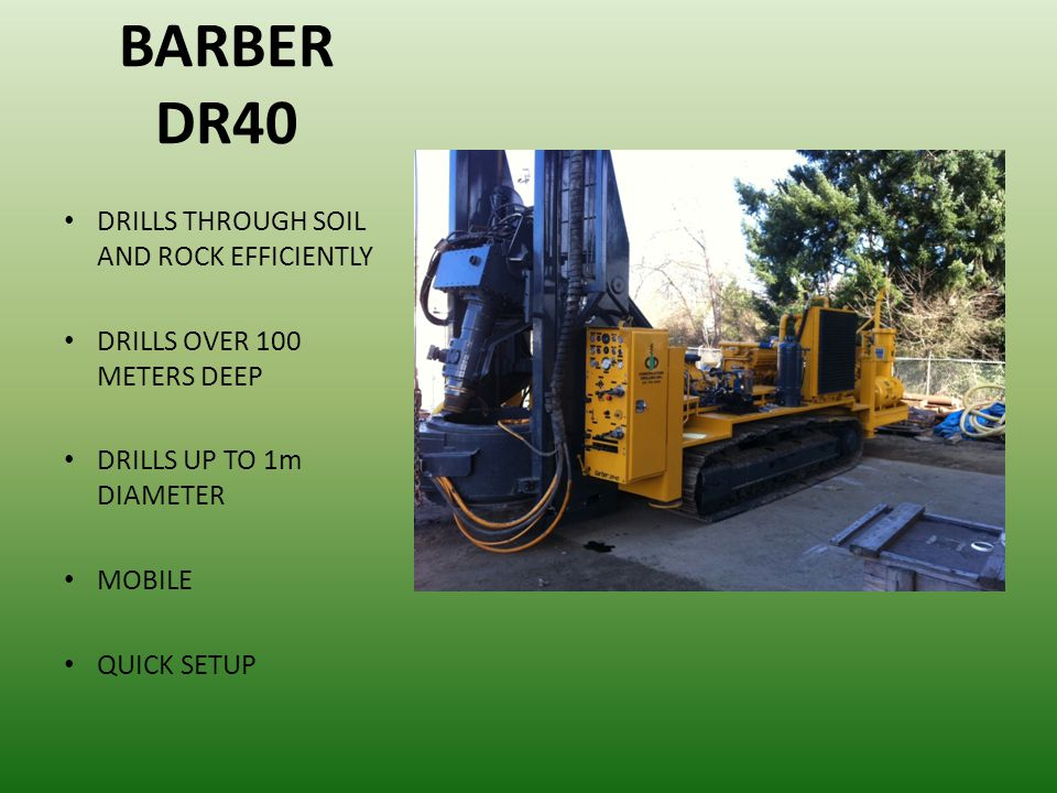 WIRTH PILE TOP DRILL DEEP DRILL DEPTHS (Over 100m) DRILLS THROUGH ALL SOIL AND ROCK CONDITIONS UP TO 3.5 METER DIAMETER REVERSE CIRCULATION CLOSED LOOP SYSTEM