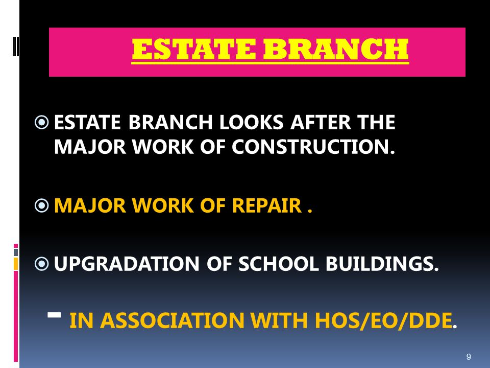 ESTATE BRANCH ESTATE BRANCH LOOKS AFTER THE MAJOR WORK OF CONSTRUCTION.