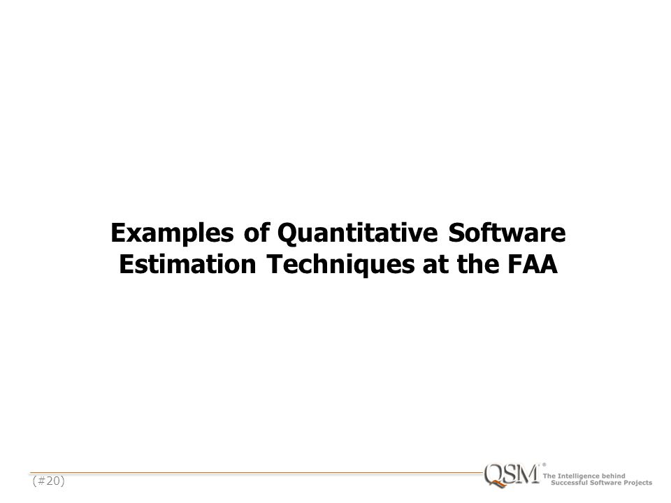 (#20) Examples of Quantitative Software Estimation Techniques at the FAA