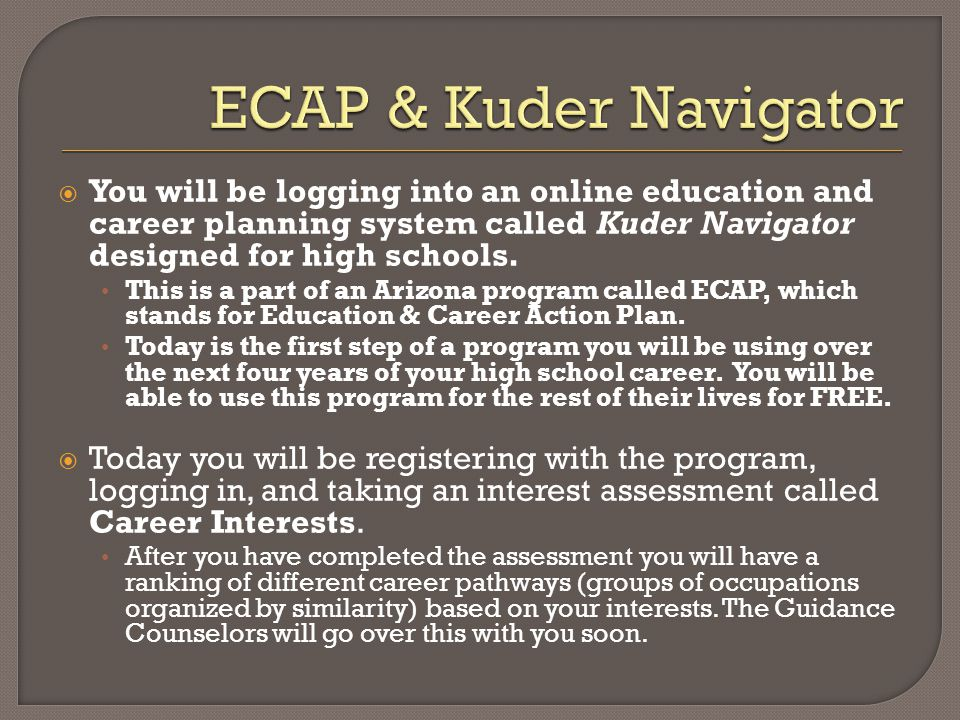 You will be logging into an online education and career planning system called Kuder Navigator designed for high schools. This is a part of an Arizona