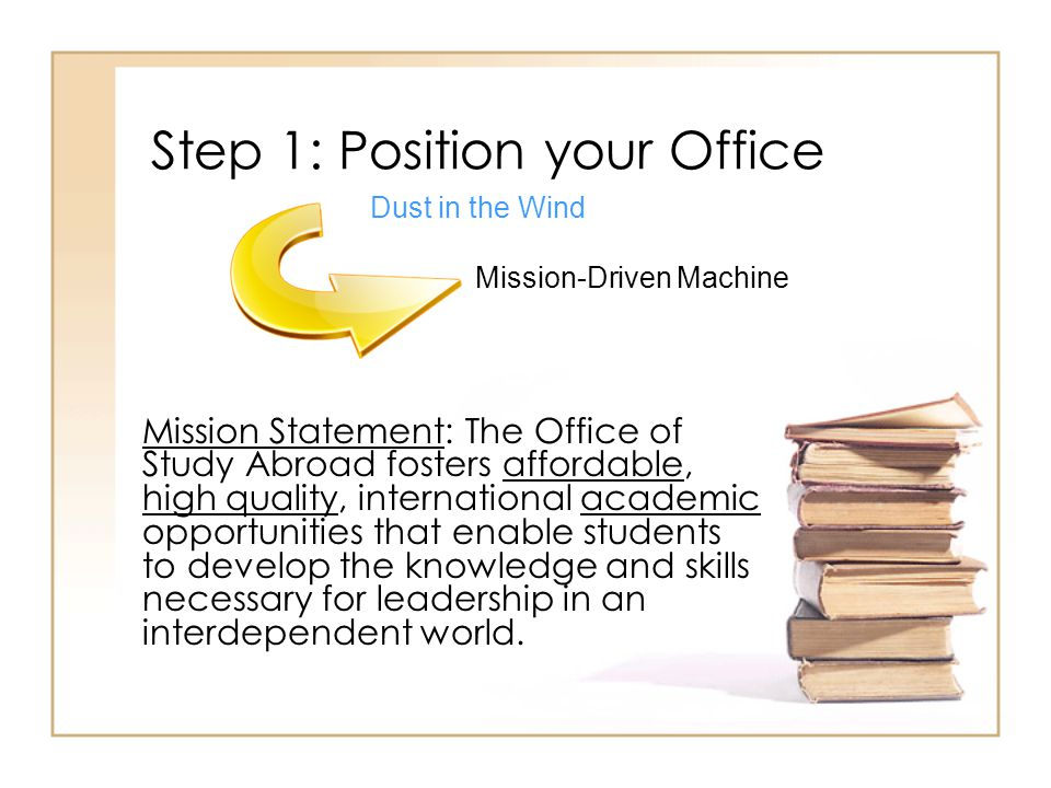 Step 1: Position your Office Mission Statement: The Office of Study Abroad fosters affordable, high quality, international academic opportunities that