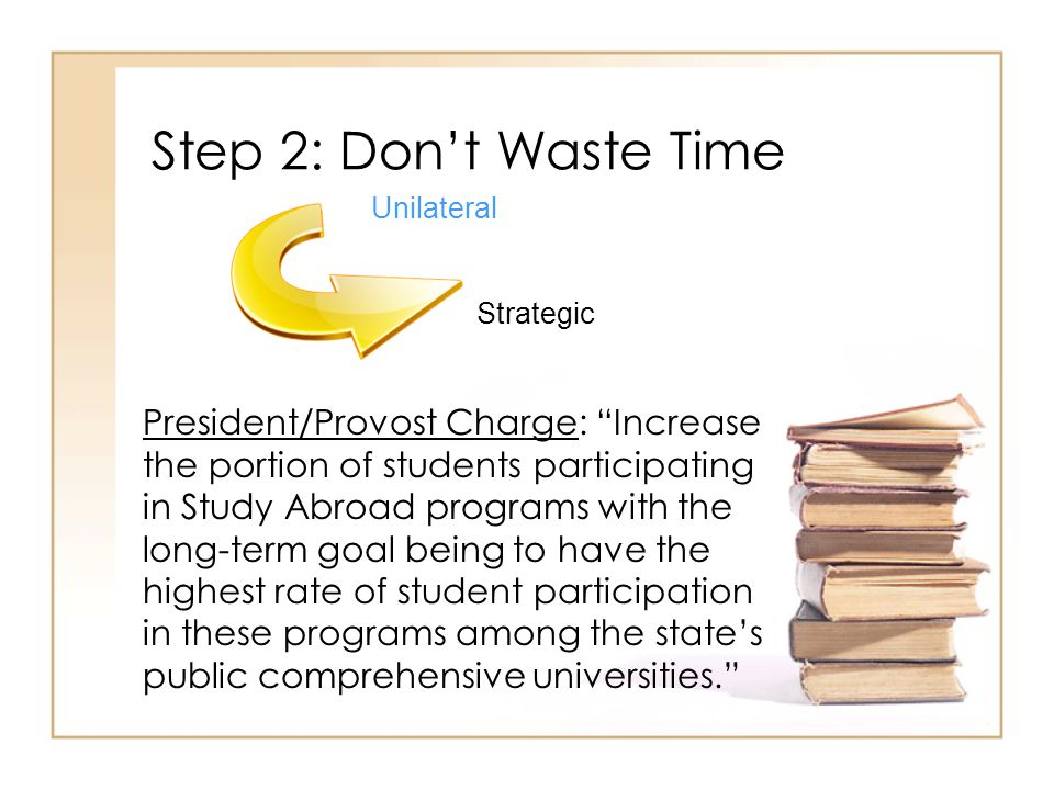 Step 2: Dont Waste Time President/Provost Charge: Increase the portion of students participating in Study Abroad programs with the long-term goal being to have the highest rate of student participation in these programs among the states public comprehensive universities.