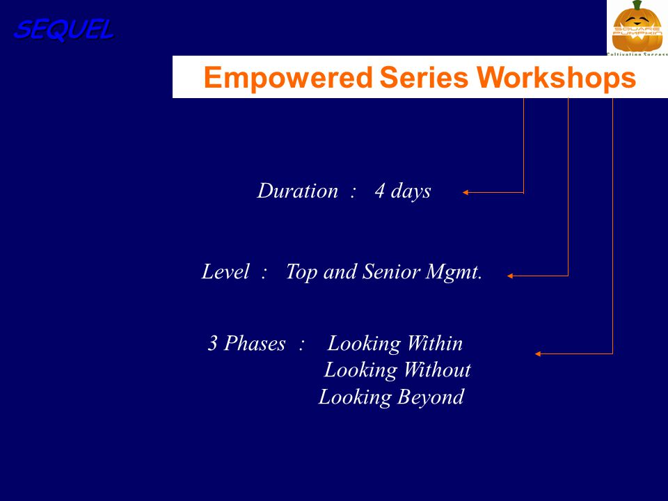 SEQUEL Duration : 4 days 3 Phases : Looking Within Looking Without Looking Beyond Empowered Series Workshops Level : Top and Senior Mgmt.