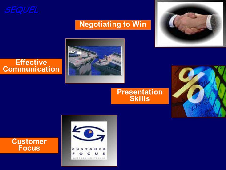 SEQUEL Effective Communication Presentation Skills Negotiating to Win Customer Focus