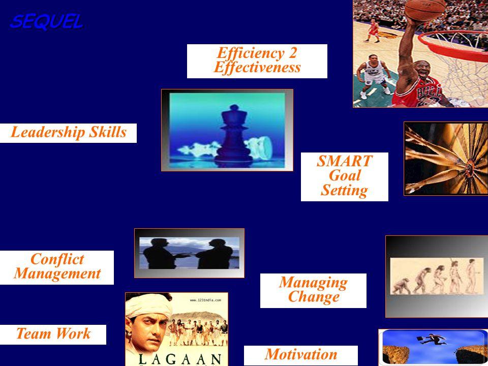 SEQUEL Managing Change Conflict Management Motivation SMART Goal Setting Leadership Skills Team Work Efficiency 2 Effectiveness