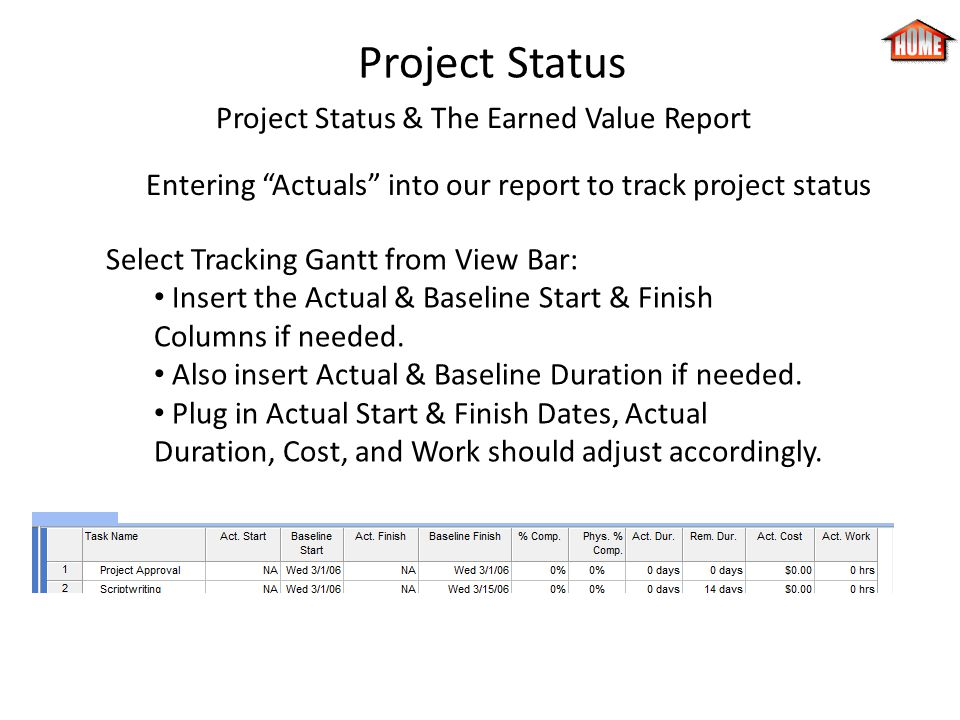 Project Status Project Status & The Earned Value Report Entering Actuals into our report to track project status Select Tracking Gantt from View Bar:
