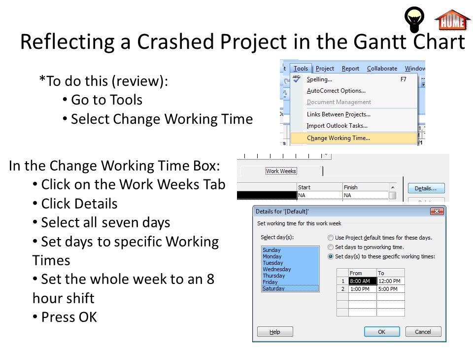 Reflecting a Crashed Project in the Gantt Chart *To do this (review): Go to Tools Select Change Working Time In the Change Working Time Box: Click on