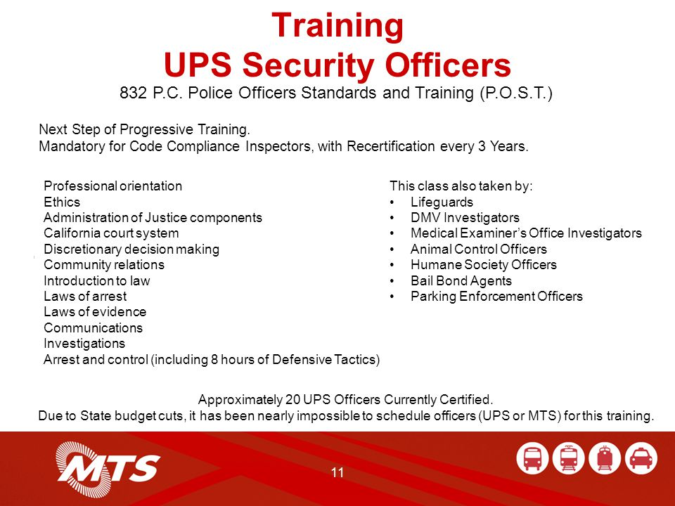 11 Training UPS Security Officers Next Step of Progressive Training.