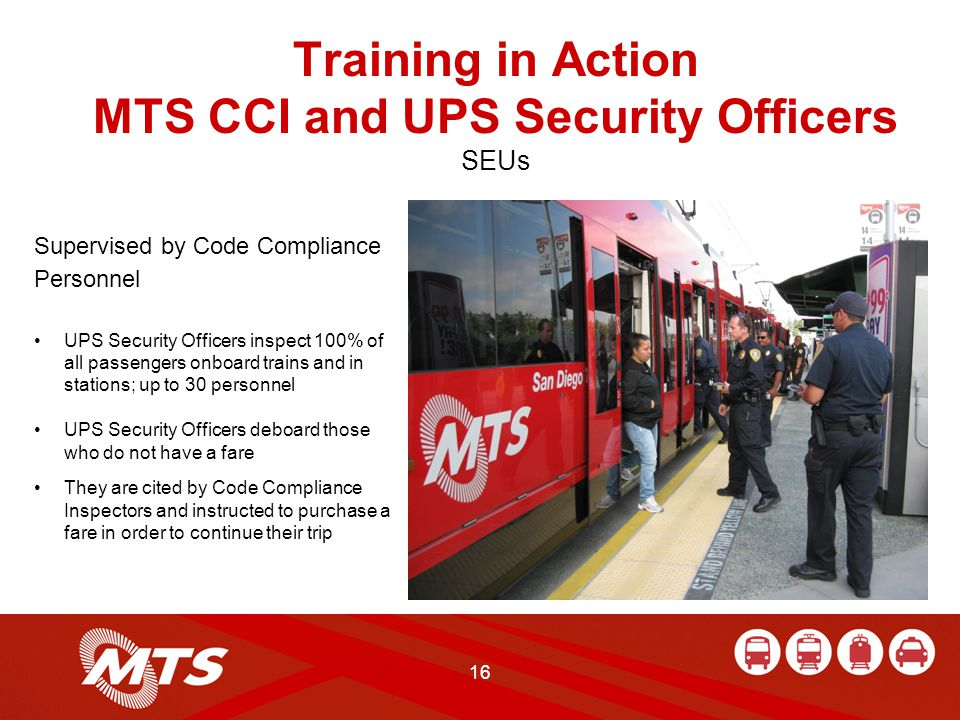 16 Training in Action MTS CCI and UPS Security Officers SEUs Supervised by Code Compliance Personnel UPS Security Officers inspect 100% of all passengers onboard trains and in stations; up to 30 personnel UPS Security Officers deboard those who do not have a fare They are cited by Code Compliance Inspectors and instructed to purchase a fare in order to continue their trip