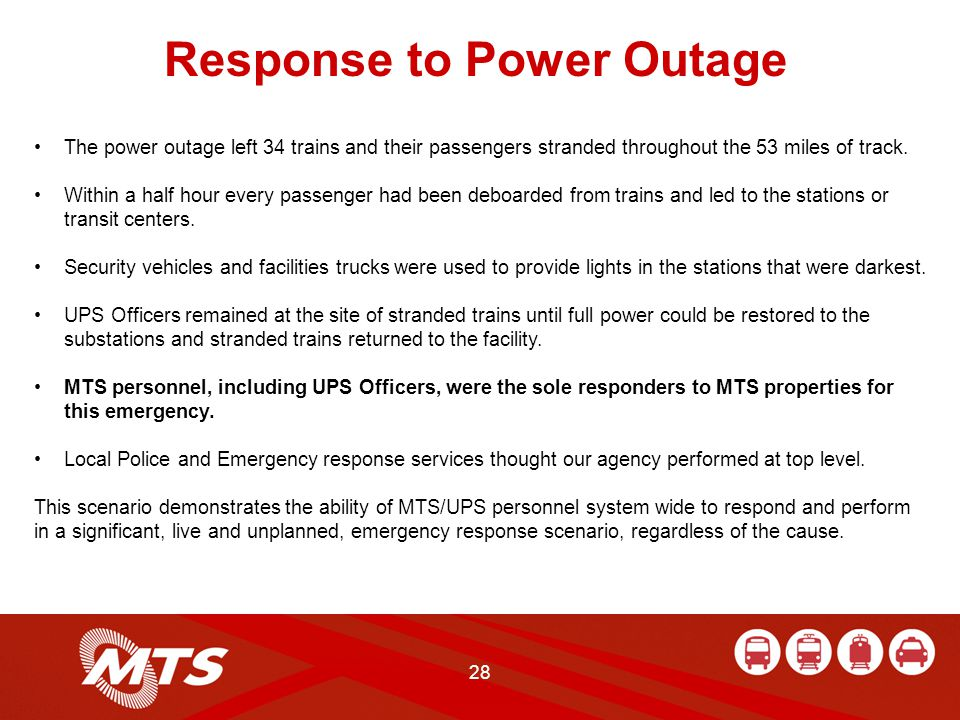 28 Response to Power Outage The power outage left 34 trains and their passengers stranded throughout the 53 miles of track.