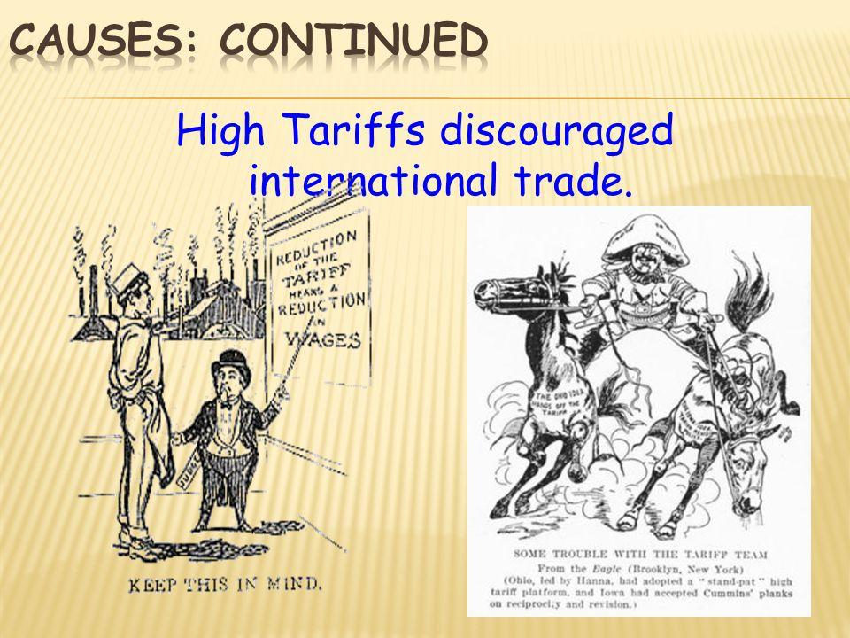 High Tariffs discouraged international trade.