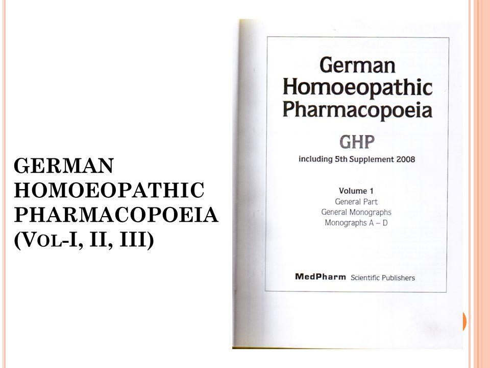 GERMAN HOMOEOPATHIC PHARMACOPOEIA (V OL -I, II, III)