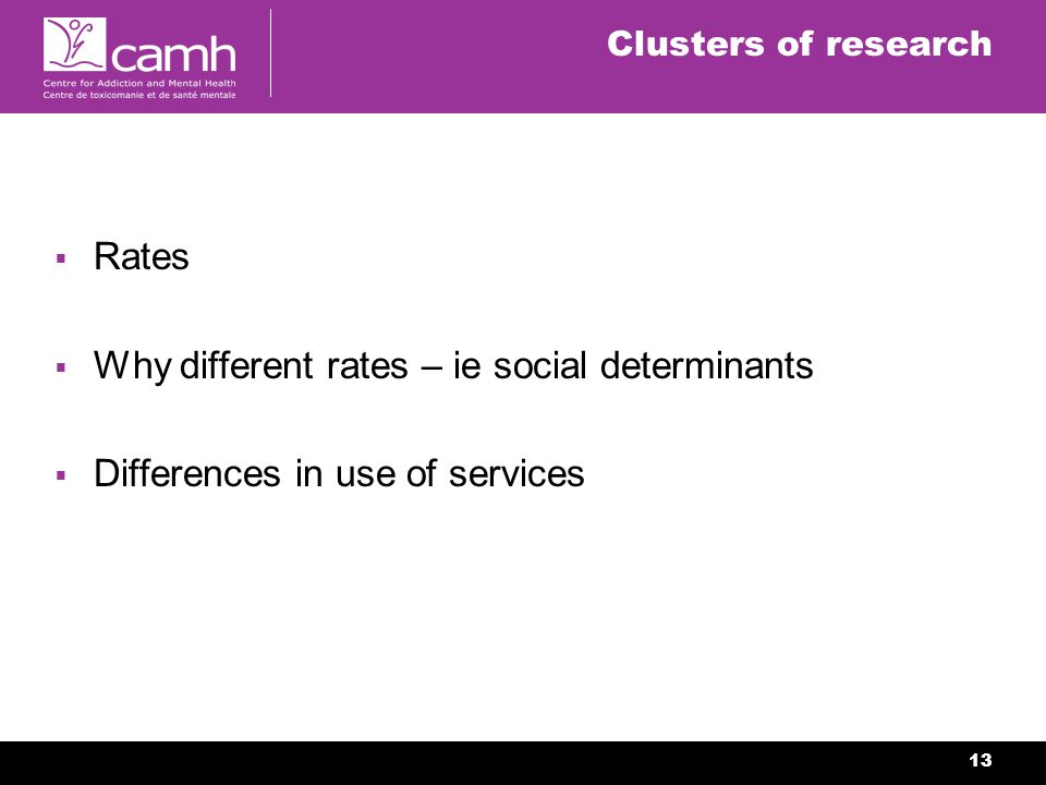 13 Clusters of research Rates Why different rates – ie social determinants Differences in use of services
