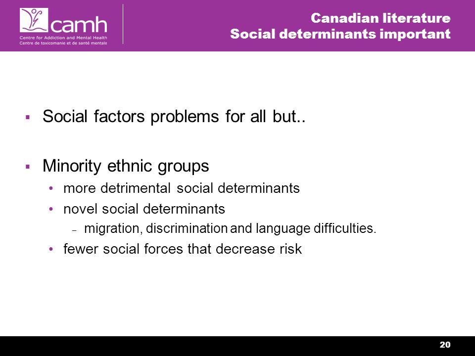20 Canadian literature Social determinants important Social factors problems for all but..