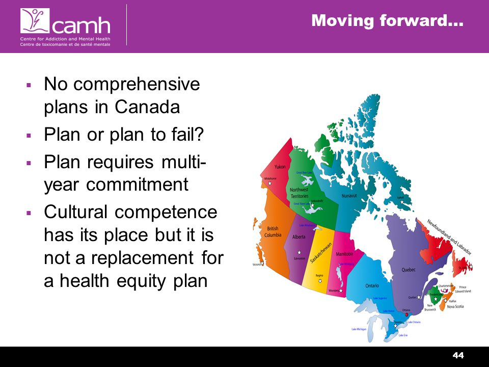 44 Moving forward… No comprehensive plans in Canada Plan or plan to fail.