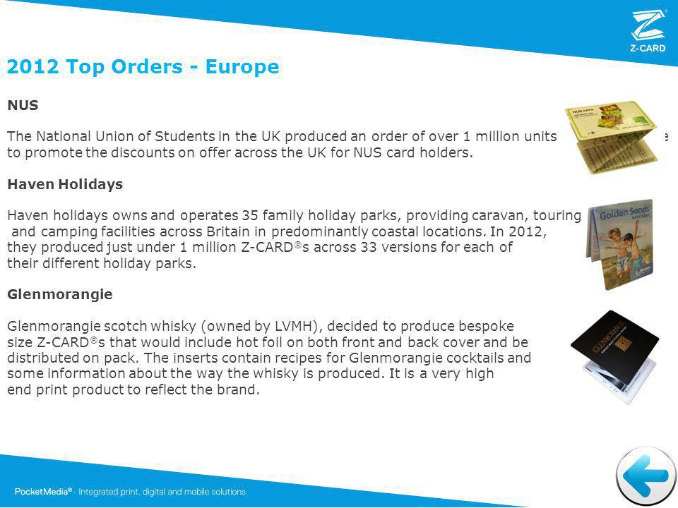 2012 Top Orders - Europe NUS The National Union of Students in the UK produced an order of over 1 million units to communicate to promote the discounts on offer across the UK for NUS card holders.