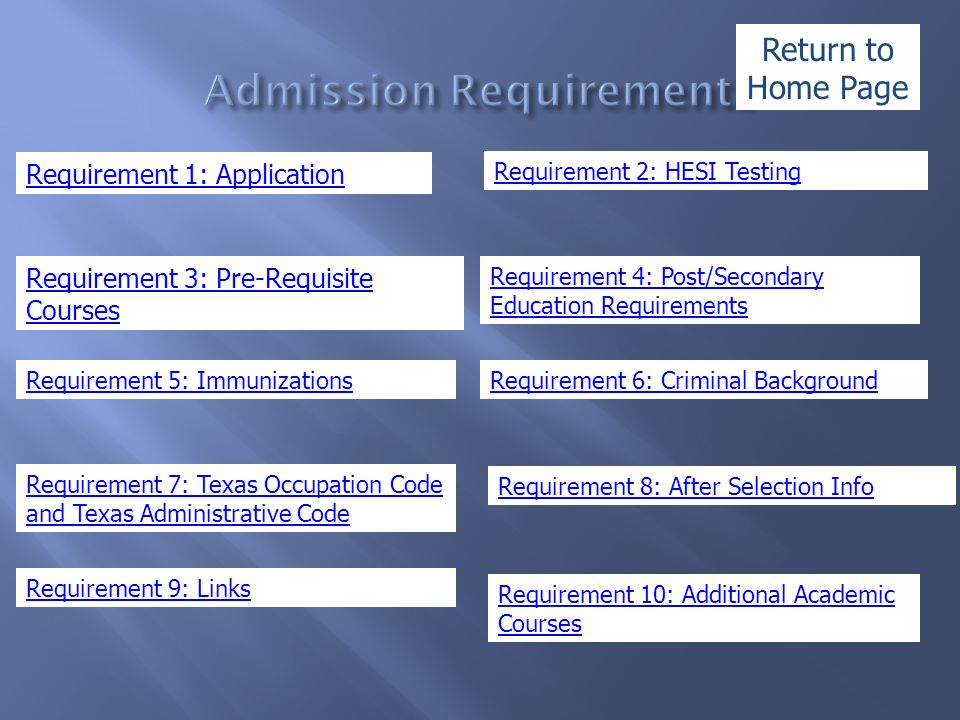 Requirement 1: Application Requirement 3: Pre-Requisite Courses Requirement 5: Immunizations Requirement 7: Texas Occupation Code and Texas Administra