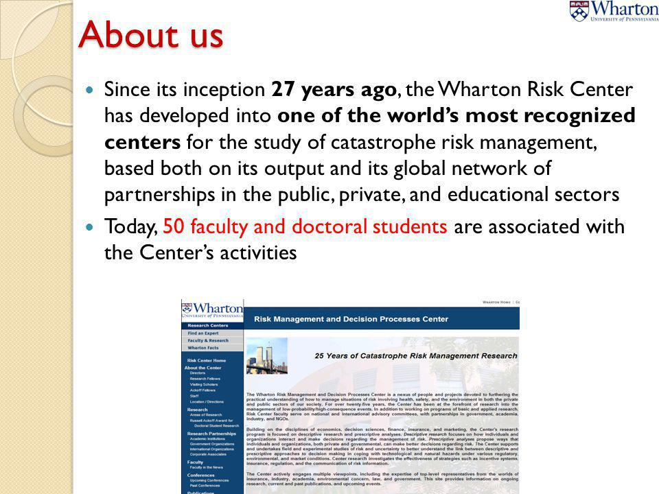 About us Since its inception 27 years ago, the Wharton Risk Center has developed into one of the worlds most recognized centers for the study of catas